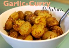 garlic curry potatoes vegan recipe - dairy free and delicious!!