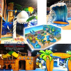 "At iPlayCO we custom design indoor playground structures for all types of family friendly businesses. This one was designed with ""beach"" in mind. Playground Design, Indoor Playground, Children Playground, Kids Play Equipment, Best Commercials, Toddler Play, Creative Play, Kids Playing, Things That Bounce"