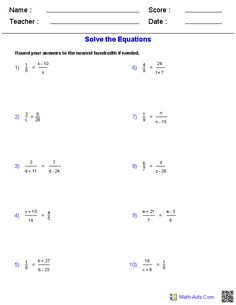 Solving Radical Equations Worksheets | Math-Aids.Com | Pinterest ...