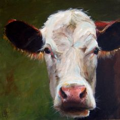 Cow Painting Frances- Original Painting - 18x18 on gallery wrapped canvas (found at Etsy) $260
