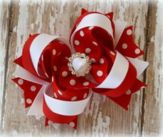 Boutique Hairbow, Red White Polka Dot, Over the Top Butterfly Hairbow, 3.75 Inch, Christmas, Valentine's Day, OTT Bow, Toddler Hairbows on Etsy, $10.00