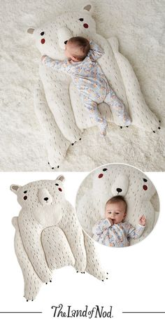 This polar bear baby play mat is the perfect nursery companion. The stuffed arms add support making it ideal for tummy time, and the delightful design from Gingiber makes it the perfect baby gift idea.