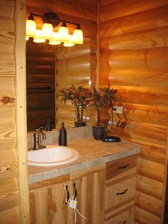 Pine Log Siding with clear coat in a bathroom.