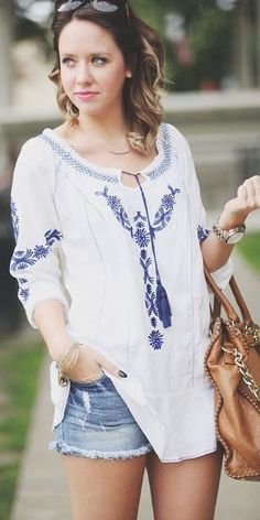 Daisy Appeal Blue Embroidered Boho Top