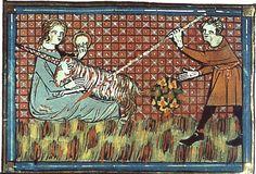 Mise à mort d'une licorne sur un bestiaire italien du XIVe siècle.