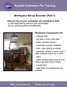 Eyelash extension business workspace set-up. What you need to create a comfortable and functional space for your clients.  http://amzn.to/1F7ti3T
