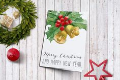 Printable Holiday Greeting Card, Christmas Card, Holiday Card, Printable Christmas Card, Merry Christmas & Happy New Year card Printable - pinned by pin4etsy.com