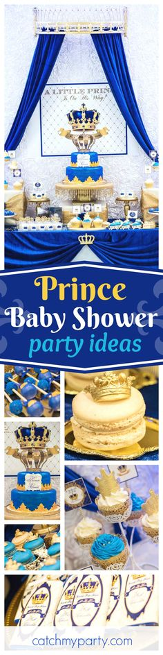 You too will feel like royalty at this Royal Prince Baby Shower! The backdrop is so regal!! See more party ideas and share yours at CatchMyParty.com