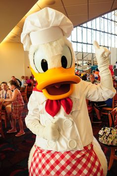 Donald at CHhef Mickey, Contemporary Resort (WDW) Disney Characters Costumes, Run Disney Costumes, Disney World Characters, Mickey Love, Disney Mickey Mouse, Walt Disney, Disney Best Friends, Disneyland Photography, Donald And Daisy Duck