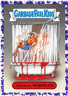 Garbage Pail Kids Cards, Collectible Cards, Revenge, 1980s, Horror, Sticker, Basket, My Favorite Things, Purple