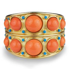 Kenneth Jay Lane Coral Cuff Bracelet and Turquoise Accents