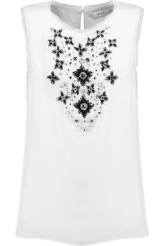MILLY Embellished Stretch-Silk Top. #milly #cloth #top