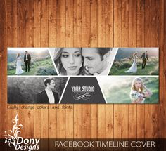 Wedding Facebook timeline cover template photo collage - Photoshop Template…