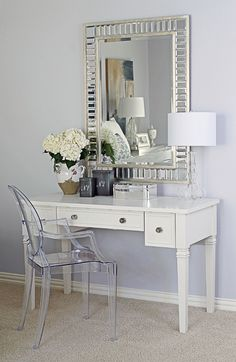 why dont I have this exact vanity setup in my house!?!      Emily Larkin: EJ Interiors Designed by Emily Johnston Larkin