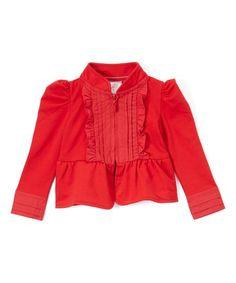 sissymini Red Ruffle Zip-Up Crop Jacket - Toddler & Girls | zulily
