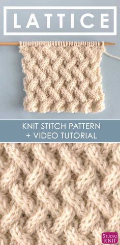 How to Knit the Grid Wire Stitch Pattern with Free Knitting Pattern and Video . How to knit the grid cable pattern with a free knitting pattern and a video tutorial from Studio Knit , How to Knit the Lattice Cable Stitch Pattern w. Easy Knitting Projects, Knitting For Beginners, Knitting Designs, Knitting Patterns Free, Free Knitting, Stitch Patterns, Craft Projects, Free Pattern, Knitting Tutorials