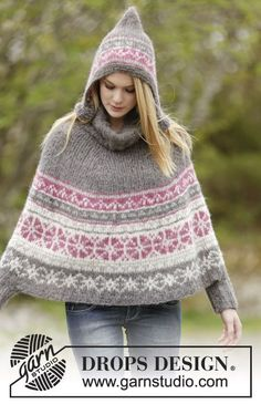 """Knitted DROPS poncho in 2 strands """"Brushed Alpaca Silk"""" or 1 strand """"Melody"""" with Nordic pattern, rib and round neckline worked top down. ~ DROPS Design rippenmuster Sweet Winter Poncho / DROPS - Free knitting patterns by DROPS Design Poncho Shawl, Poncho Sweater, Capelet, Drops Design, Hand Knitted Sweaters, Knitted Poncho, Poncho Knitting Patterns, Free Knitting, Laine Drops"""