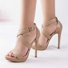 9245fd1b31b4c Elegantes zapatos de tacón alto de Cuero genuino sandalias de gladiador de  las mujeres zapatos de