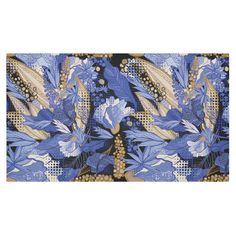 Beautiful Vintage Blue Brown Floral Pattern Cotton Linen Tablecloth 60