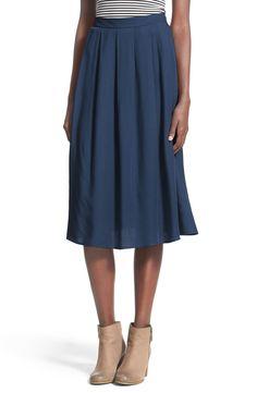 Painted Threads Pleated Midi Skirt