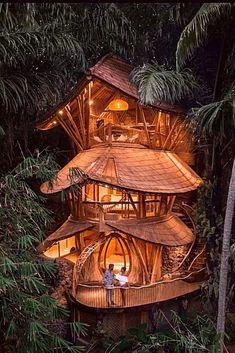 Beautiful Tree Houses, Cool Tree Houses, Beautiful Homes, Amazing Tree House, Luxury Tree Houses, Best All Inclusive Honeymoon, Honeymoon Destinations, Amazing Architecture, Architecture Design