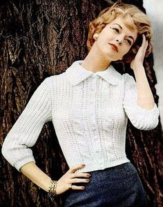 Jean Patchett in Orlon sweater, DuPont ad, 1956    (cute sweater, would probably be cuter in WOOL...grrrr synthetics!!)