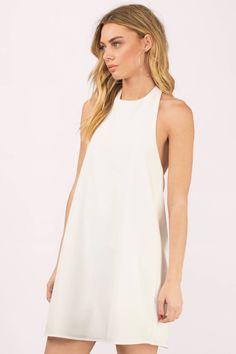 White Dresses, Tobi, Ivory Revelry Halter Shift Dress