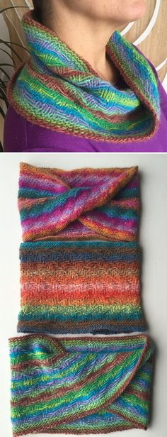 Free Knitting Pattern for One Skein Greater Than One, Two, Three Cowl -  This slipped stitch pattern herringbone cowl uses just 190 – 200 yards (174 – 183 m) of fingering yarn. Three versions –two Moebius and one regular circular cowl. Designed byAmy Williams to showcase multicolored yarn. Easy Knitting Patterns, Loom Knitting, Free Knitting, Knitting Projects, Baby Knitting, Stitch Patterns, Crochet Patterns, Cowl Patterns, Knitting Scarves