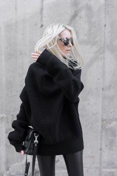 styledbykasey:  leather leggings + black sweater