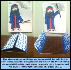 Moses parting the Red Sea craft for Children's Church.  Adapted from these two websites: http://www.daniellesplace.com/rroom/html/MosesRedSea.cfm  http://www.mamajennblogs.com/2010/03/crossing-red-sea.html