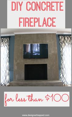 Wood burning fireplace with a concrete fireplace surround ...
