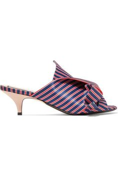 No. 21 - Knotted Striped Satin Mules - Blue - IT37.5