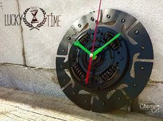 "Wall Clock ""LuckyTime"" by ""Copper Cat Art Group""/ Dieselpunk / Bracket clock / Steampunk Clock / Industrial"
