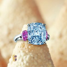 Rare and important fancy vivid blue diamond and pink diamond ring.  Sold at Sotheby's Hong Kong auction, Oct 2011, for c£6,457,254.00