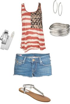 Casual Summer Outfit. this is really cute, except the stars are on the wrong side I'm pretty sure...