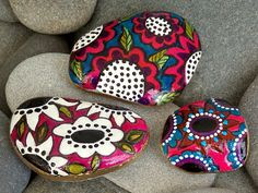 Boho Rock Garden /Painted Rocks / Sandi Pike Foundas / Cape Cod Sea Stones via Etsy