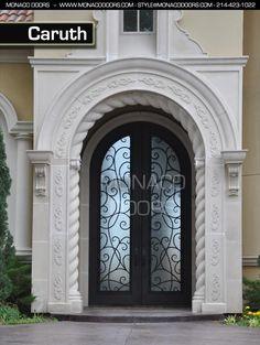 Monaco Doors Name: Caruth Finish: Satin Black Glass: Aquatex Size: 6' x 10' Style: Arch