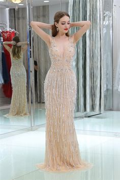 Luxury Sheath Deep V Neck Champagne Tulle Beaded Tassel Occasion Evening Dress Prom Dresses Gatsby, Evening Dresses, Wedding Dresses, Gatsby Theme, Formal Outfits, Formal Dresses, Dresses For Sale, Tassels, Champagne