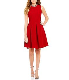 d1084f70b2 Cremieux Riley Beaded Neck Sleeveless Solid Fit-And-Flare Dress