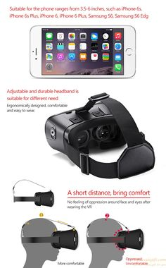 3D VR head mounted virtual reality movie games glasses for iPhone Android phones gift