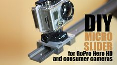 DIY Micro Camera Slider for GoPro Hero HD and small camcorder by Friedhelm Fischer. This video tutorial show you how easy it is to build up a professional Micro Camera Slider. Camera Equipment, Photo Equipment, Photography Equipment, Photography And Videography, Photography Tips, Diy Camera Slider, Gopro Diy, Film Life, Gopro Camera