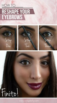 Eyebrows are the crowning glory of your face, check out this handy tutorial on how to get them looking their best #eyebrows #makeup