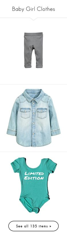 """Baby Girl Clothes"" by kidcraze ❤ liked on Polyvore featuring pants, baby, tops, kids, blue shirt, round hem shirt, blue denim shirt, blue top, shirt top and jumpsuits"