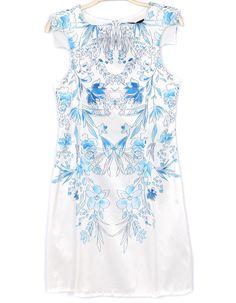 ärmelloses Kleid aus Chiffon mit blauem Blumenmuster, weiß 27.34 summer dress 2015 flowers white blue