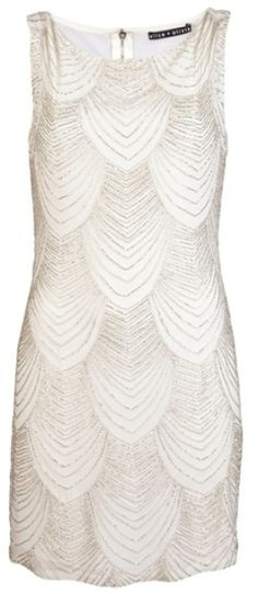 Alice + Olivia White Sequin Dress