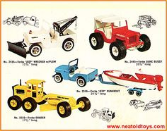 In the look book featured 58 models made up of 9 Tiny Tonka, 13 Mini Tonka, 28 Regular Tonka and 8 Mighty Tonka models. Regular series trucks were redesigned to copy Dodge trucks of the era. Tonka Trucks, Tonka Toys, Dodge Pickup, Collectible Toys, Toys Shop, Classic Toys, Good Old, Vintage Toys, Childhood Memories