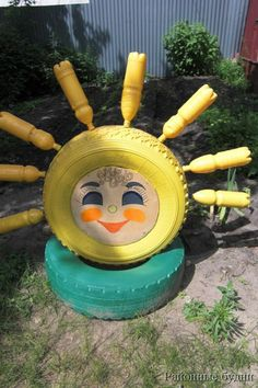 Amazing Imagination in Creative Tire Reuseable Ideas For Your Home and Garden : Creative Tire Reuseable Ideas 2013 Garden Crafts, Garden Projects, Garden Ideas, Tire Playground, Tire Craft, Painted Tires, Tire Garden, Reuse Old Tires, Backyard Creations