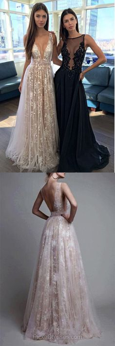 Elegant Prom Dresses 2018, Long Prom Dresses A-line, V-neck Prom Dresses Lace, Sexy Formal Prom Gowns