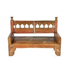 India typische Bank Zweisitzer schöne geschnitzte Dekore Rajasthan Möbel