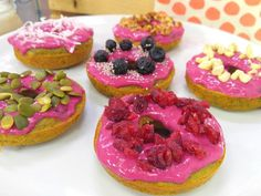 Oh my dough! Seriously, it's doughnut time (donut time? Not sure which way to spell it) and you need not feel guilty! These babies are made with bananas and beet powder! That's how I got the beautiful